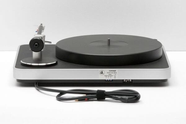 Clearaudio Concept Turntable slick black-themed viewed from the back. Includes Gold-plated RCA interconnected cable and stands at 16.5 inches tall and 5.5 inches wide.
