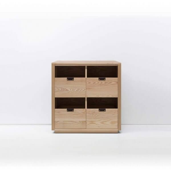 Dovetail Vinyl Storage Cabinet 2x2 with room for 360 records in premium North American hardwood construction. Includes light ash wood finish, soft-close under-mount drawers slides, and tanned leather handles.