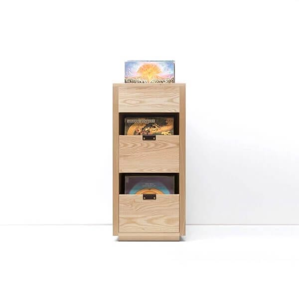 Dovetail Vinyl Storage Cabinet 1x2.5 displaying 270 records constructed with premium North American hardwoods. Includes light ash wood finish, soft-close under-mount drawers slides, and tanned leather handles.
