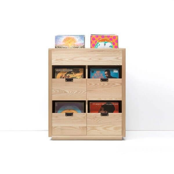 Dovetail Vinyl Storage Cabinet 2x2.5 displaying 540 records constructed with premium North American hardwoods. Includes light ash wood finish, soft-close under-mount drawers slides, and tanned leather handles.