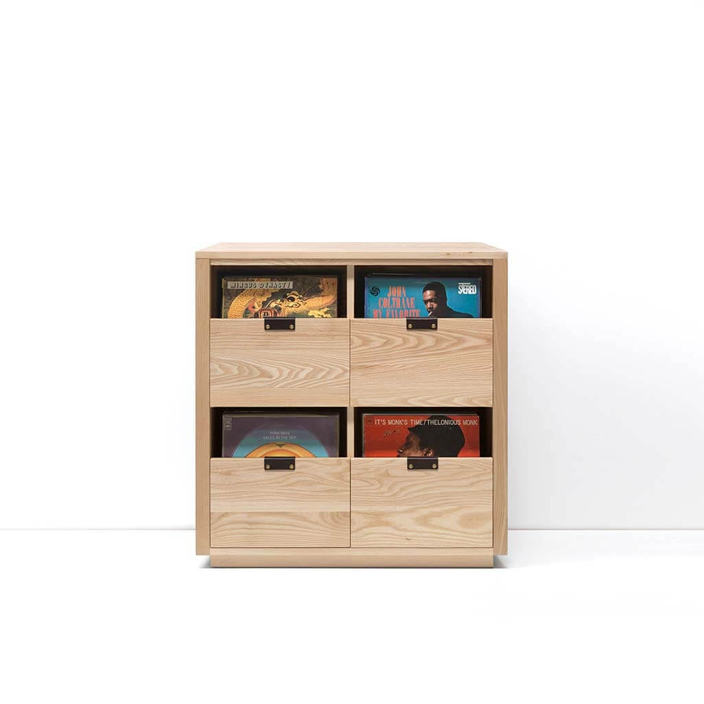 Dovetail Vinyl Storage Cabinet 2x2 displaying 360 records constructed with premium North American hardwoods. Includes light ash wood finish, soft-close under-mount drawers slides, and tanned leather handles.