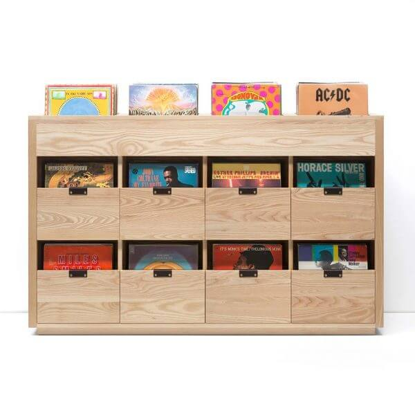 Dovetail Vinyl Storage Cabinet 4x2.5 displaying 720 records constructed with premium North American hardwoods. Includes light ash wood finish, soft-close under-mount drawers slides, and tanned leather handles.