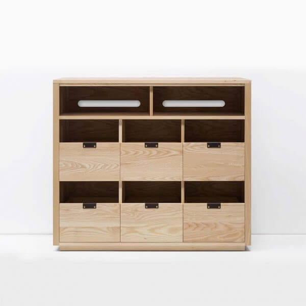 Dovetail 3 X 2.5 Vinyl Storage Cabinet with light yellow-hued natural ash finish. Features an equipment shelf with passive ventilation and cable management for audio equipment storage and access. Includes dovetail drawer boxes with full extension soft-close under-mount slides and can fit 270 vinyl records.