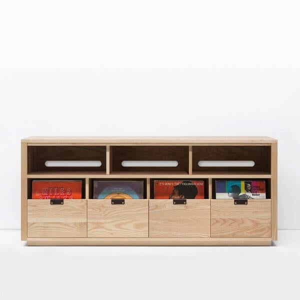 Dovetail 4 X 1.5 Vinyl Storage Cabinet with light yellow-hued natural ash finish displaying LP storage. Features an equipment shelf with passive ventilation and cable management for audio equipment storage and access. Includes dovetail drawer boxes with full extension soft-close under-mount slides and can fit 360 vinyl records.