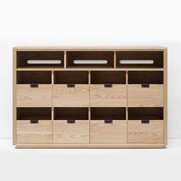 Dovetail 4 X 2.5 Vinyl Storage Cabinet with light yellow-hued natural ash finish. Features an equipment shelf with passive ventilation and cable management for audio equipment storage and access. Includes dovetail drawer boxes with full extension soft-close under-mount slides and can fit 720 vinyl records.