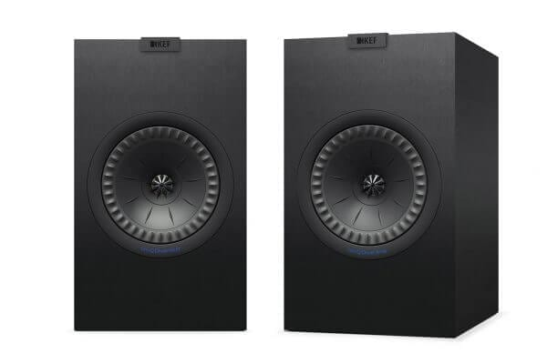 KEF Q350 Black Pair Speakers standing at 14 inches tall and 8.5 inches wide.