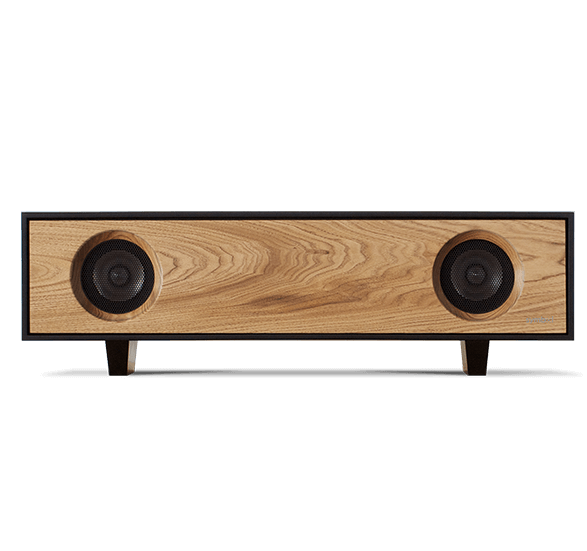 Tabletop Hifi speaker with a dark natural walnut finish. Crafted with North American hardwoods. It sits at 28.75 inches wide and 9.5 inches tall and weighs 30 lbs.