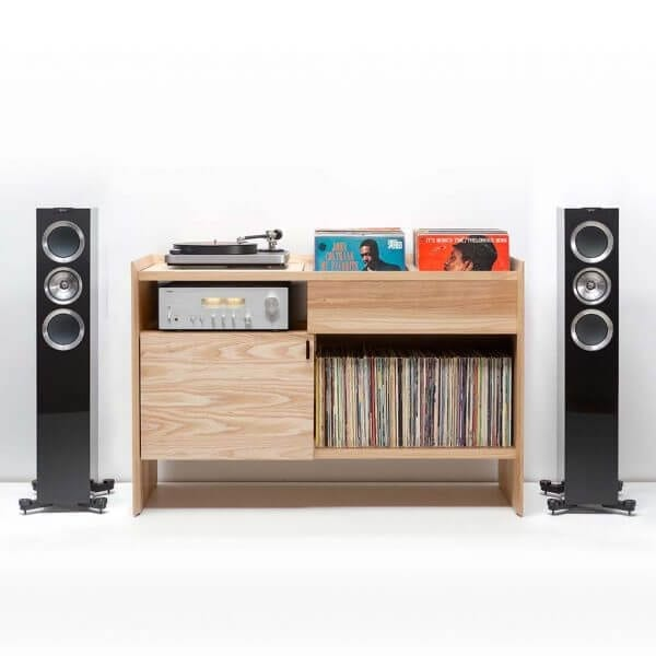 Unison Record Stand Ash with KEF R500 and Modern Sleek tabletop turntable. Includes flip-style record storage and Hi-Fi audio network connector.