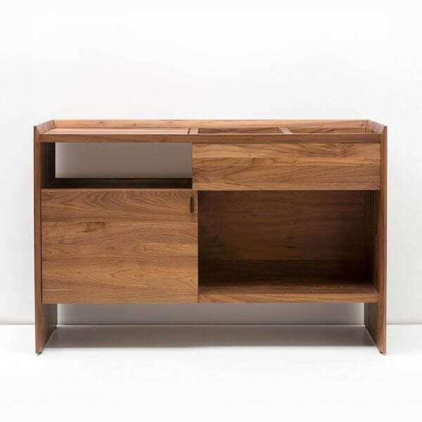Unison Record Storage Stand with flip-style LP storage bins, vibration isolated record player platform, and audio cabinet room for hi-fi sound equipment with a rich natural walnut finish. Crafted from premium North American hardwoods and displayed with open drawers and empty storage spots.