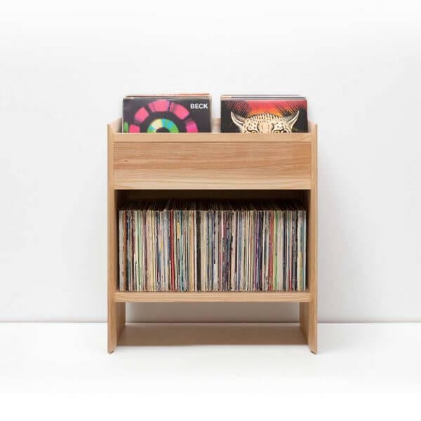 Unison Vinyl Storage Cabinet in light ash theme with room for 330 LPs in a flip-style storage bin.